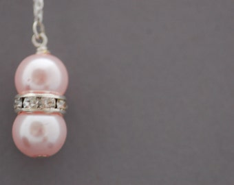 SPRING SALE • Pink Pearl Necklace • Pink Glass Pearl and Rhinestone Beaded Necklace • Gift for Her • UK Seller