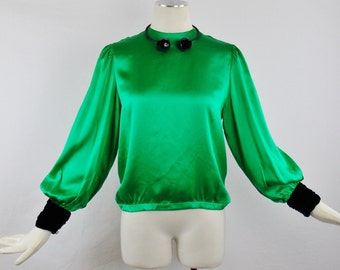 Vintage LANVIN PARIS  EMERALD Green Size 40 Silk Blouse with Ruched Velvet Cuff Sleeves and Back Button closure