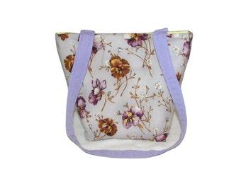 Purple Purse, Small Fabric Bag, Handmade Handbag, Pansy Flowers, Floral Cloth Purse, Teen Purse, Shoulder Bag