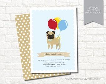 Blue Boy Pug Birthday Party Digital Invitation