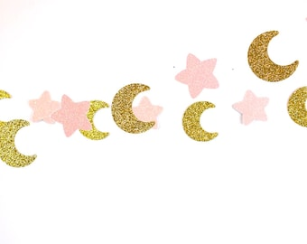 Moon and Stars Garland, Pink Gold Birday, Nursery Decoration Bridal Shower, Baby Shower, Pink Gold Birthday, Pink Gold Party