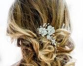 Wedding crystal Hair Piece, Silver Vine hair piece, Bridal Hair Comb, Vintage wedding, silver hair vine, crystals hair vine, Bridal Hair