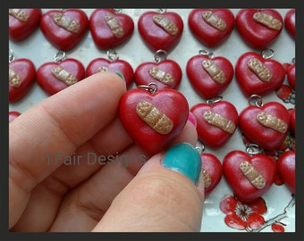 SALE 10 PACK Ready to Ship Heart w/Glitter Band-aid Pendant CHD Awareness
