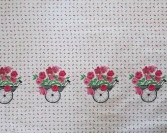 "1950's Border Print Cotton // Flower Cart // Deadstock Fabric // Vintage Yardage...36"" wide X 84"" long"