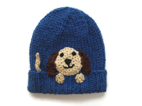 Puppy Dog Hat Knitting Pattern : knit animal hat babys knit hat puppy dog hat knit blue
