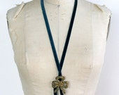 ON SALE Velvet Wreath Necklace Metal / Gold Sapphire Blue Velvet - AZALEA Wistful Flapper Necklace Ready-to-Ship Ooak