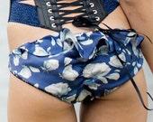 Silk Bikini Lingerie Panties / Blue Floral Ruffle Cha Cha Stars Silk Lace / TEMPEST Modern Star Knickers - Nightfall / Ocean