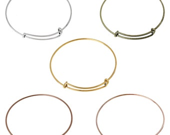 """5 Bangle Charm Bracelets, mixed colors, adjustable size expandable to fit medium to large wrist, thick 13 gauge, 9-1/2"""", fin0572"""
