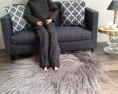 Plush shaggy faux fur living room rug in grey for sixth scale or playscale diorama or dollhouse