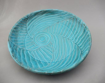 Pottery Serving Platter -  Earthenware with Off Center Hand Carving