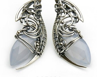 VIA LATTEA unique sterling silver earrings with chalcedony. Exclusive gift. Free shipping!