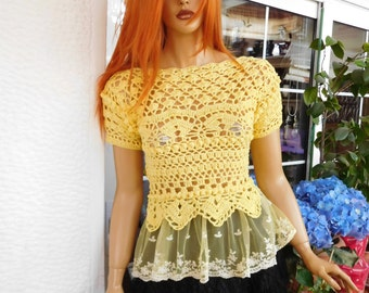RESERVED for NICOL  top handmade crochet yellow cotton romantic sexy top women clothing spring summer gift idea for her by golden yarn