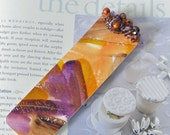 Beaded Bookmark //  Watercolor Original Art-Not a Print // Orange, Brown, Purple Art Bookmark
