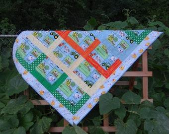 Baby John Deere Quilt, Baby Boy Farmer Blanket, John Deere Baby Quilt