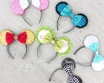 NEW CUSTOM MOUSE Ears - Green & Baby Pink - Tinkerbelle Fairy Princess Tink dress-up costume W.D.W, child woman Disneyland, Disney