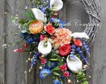 Spring Wreath, Easter Wreath, Spring Floral Wreath, Elegant Spring Wreath, Summer Wreath, Country French, Calla Lily Wreath, Designer Wreath