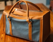 golden tan and grey leather and canvas weekender, horween duffle, horween canvas duffel, horween baseball glove, jacobson leather