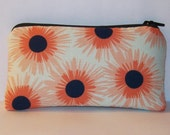 "Padded Pipe Pouch, Peach Floral Bag, Pipe Case, Glass Pipe Pouch, Pipe Bag, Small Pouch, Flowers Purse, Girly Pouch, 420 Gift - 5.5"" SMALL"