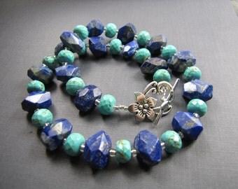 Blue Lapiz turquoise necklace big chunky gemstone single strand beaded necklace lapiz jewelry