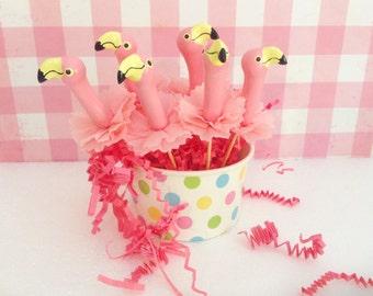 Six Pink Flamingo Cupcake Toppers