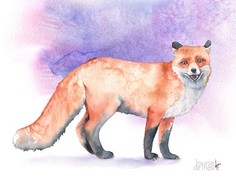Fox print of watercolor painting, A4 size medium print, F8316, fox watercolor, woodland animal painting, fox watercolor painting