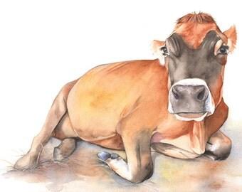 Cow print of watercolour painting 'Harriette' A4 size medium print C8015 - Farmyard fresh decor- farm to table art
