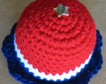 Pin Cushion - Red White Blue with Gold Colored Star - Quilter Tailor Mother Teacher Sewing Guild - Place Card Holder - Item 4610