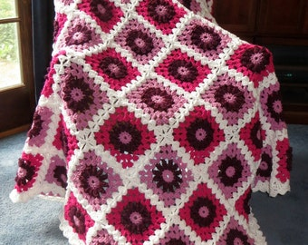 """Large Afghan Blanket -Pink Lovers Raised Centers Highly Textured - White Border - Bed or Couch Blanket Size 72"""" x 58"""" - Item 4705"""
