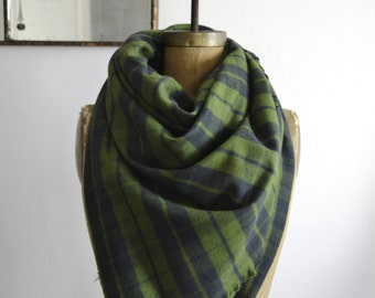Blanket Scarf Wrap Warm Brushed Cotton Fringed Edges Plaid Olive Green and Dark Navy Blue