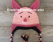 Piglet Hat with Braids and Earflaps  -  inspired by Winnie the Pooh - Newborn (0-3, 3-6, 6-12 Months Sizes)