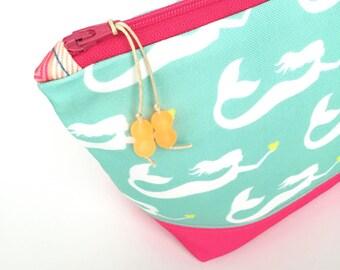 Mermaids Large Make up Bag, Recycled Zipper Pouch, Diaper Bag Organizer, Eco Cosmetics Bag, Glass Bead Tassel, Green Christmas Gift