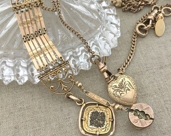 Antique Watch Fob Necklace - Repurposed Watch Chain Necklace - Watch Fob Charm Necklace - Heart Locket Gold Filled Gift for Her JryenDesigns