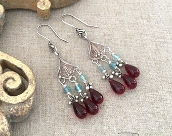 Gypsy Dangle Earrings - Vintage Repurposed BoHo Earrings - Bohemian Jewelry - Gypsy Silver Dangle Earrings - Unique Gift for Her