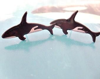 Whale Stud Earrings, Ocean animal stud earrings, Black fish, Orca Whale