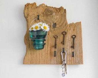 Key Holder Wall Vase Candle on Upcycled Vintage Barn Wood Skeleton Keys Aqua Glass Insulator Kitchen Organization Rustic Bohemian