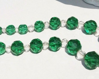 Vintage Green and Clear Crystal Necklace Choker