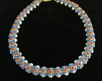 White pearl, multi color seed bead beadwoven necklace