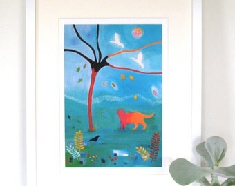 Cat print, Acrylic painting, Autumn Days, Giclee Print, nursery art