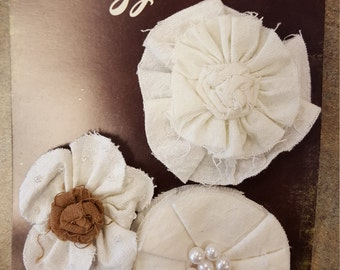Fabric Flowers  Petaloo Natural White Canvas flowers shabby cut with embellished centers - vintage look  1538-000