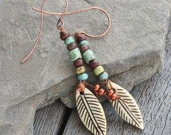 Primitive Feather Earrings - Carved bone feather - festival earrings, fiber earrings, rustic earrings, boho earrings, waxed linen earrings