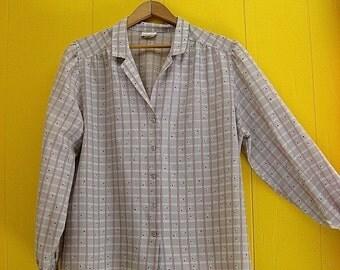 on sale 80s Blouse/Secretary Blouse/Vintage/Vintage Clothing/Cherry Blouse/80s Fashion/Long Sleeve Blouse/Large Vintage Blouse