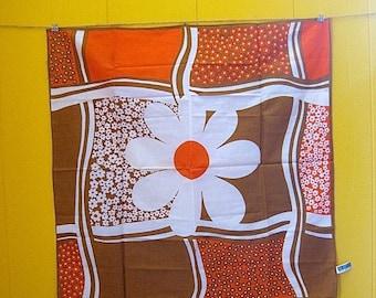 on sale Vintage Scarf/Vintage Bandana/Japanese Scarf/Orange Scarf/Flowered Bandana/Brown Scarf/Boho Accessories