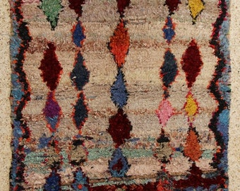 "boucherouite FREE SHIPPING worlwide T25551  180x140 CM (5'10"" X 4'7""), boucharouette,  moroccan rugs , berber rugs, morocco carpets"