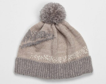 SALE -65% Warm Beige abstract beanie knitting jacquard with grey and pearl white color design pattern