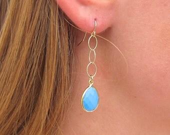Turquoise Teardrop Dangle Earrings - Turquoise Earrings - Turquoise Jewelry