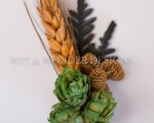 FERN and Alder Cone Hops Boutonniere Orange Wheat and Fern leaves