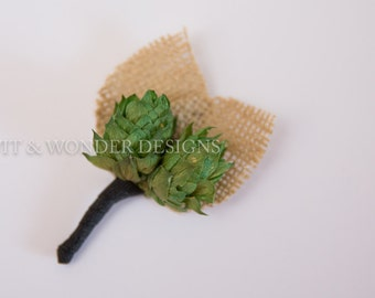 Little HOPPER Beer Hops and Burlap Boutonnieres