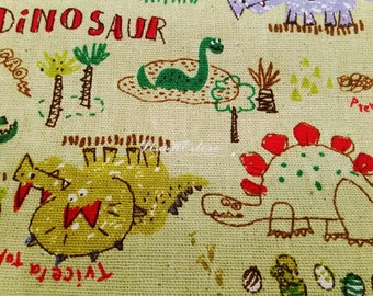 Dinosaur, green, 1/2 yard, pure cotton fabric