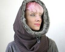 Luxury faux rabbit hooded scarf, cowl hood, fake fur scarf, Snock®, fur snood in thick rib wool knit