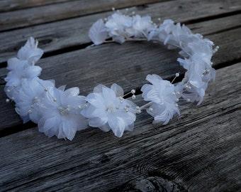 White Bride Hair Crown, Bridal Circlet, 21 Inches